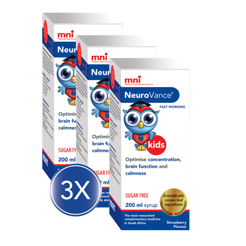 Optimise your child's concentration, brain function and focus with NeuroVance Kids Syrup 3x Value Pack
