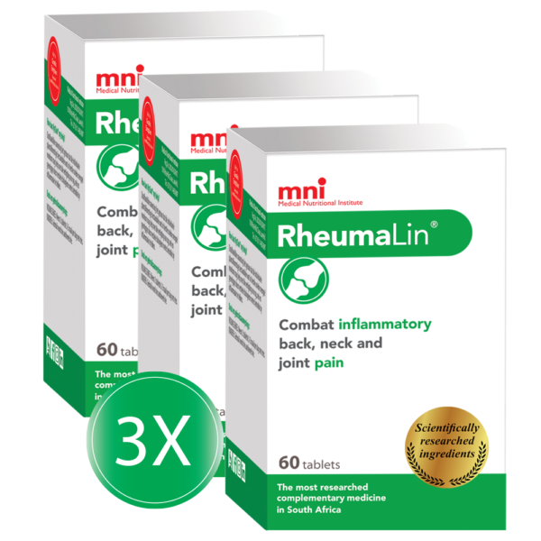 RheumaLin 60 tablets 3x value pack combats inflammatory back, neck and joint pain